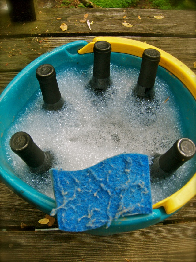 Use an old sponge to remove waterlogged label