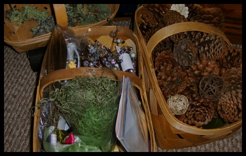 Pinecones and decorations from Michael's