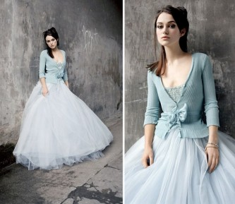 blue cardigan with full length wedding gown