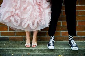 vintage pink ruffled wedding gown