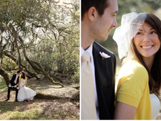 colorful cardigan over wedding gown
