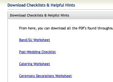 worksheets from My Wedding Workbook