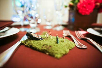 wedding table numbers that depict disasters