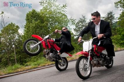 Groom and Best man on dirtbikes