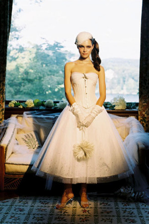 Short Joan Shum gown with corset
