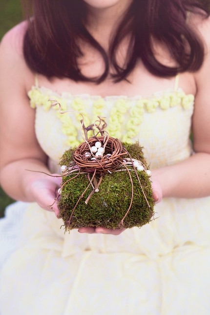 moss and nest ring pillow