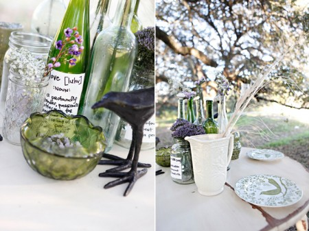 Pretty Glass jars and birds make up this table scape