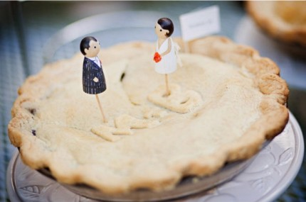 wedding pie with topper and monograms