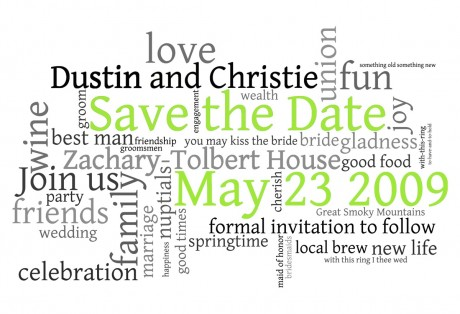 Save the Date word cloud