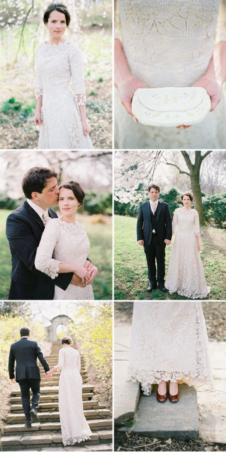 Cherry Blossom anniversary phot shoot with bride in her vintage gown