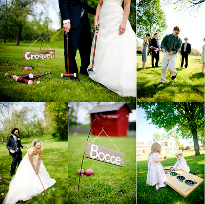bride and groom play bocce