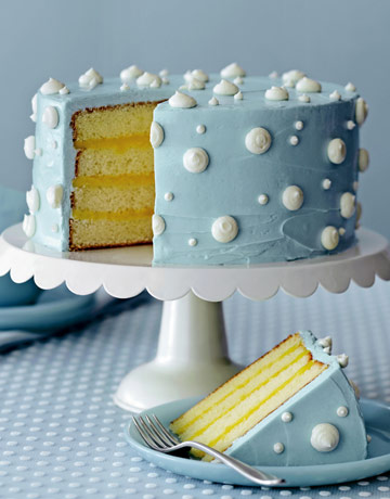 Polka Dot Cake with Lemon Curd Filling