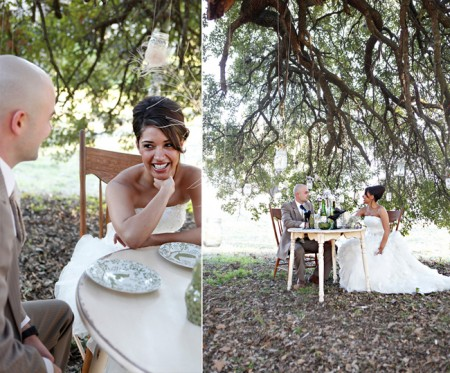 Bride and groom enjoy a quite picnic at a single table under a tree