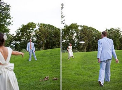 playing frisbee at a wedding