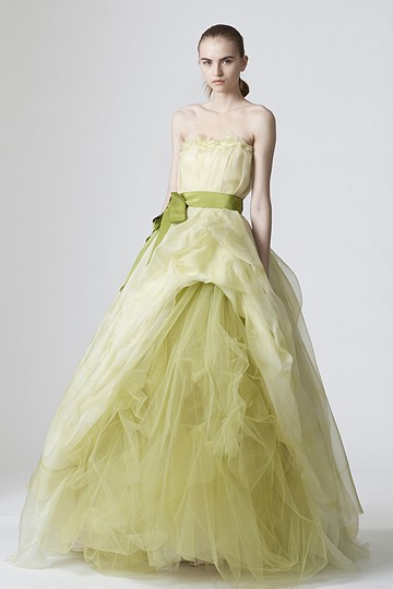 pale green wedding gown