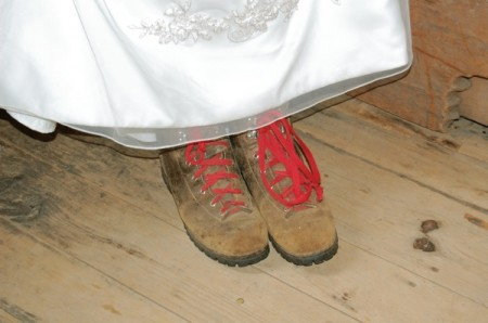 bride in hiking boots