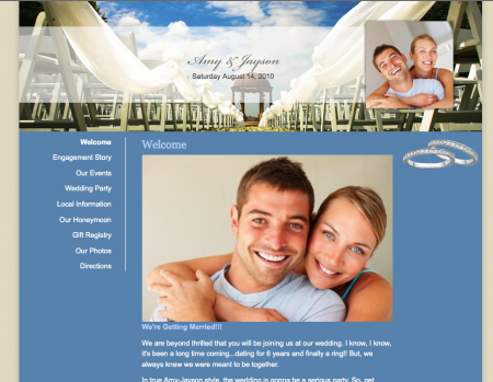 One Wed dot com wedding website sample template