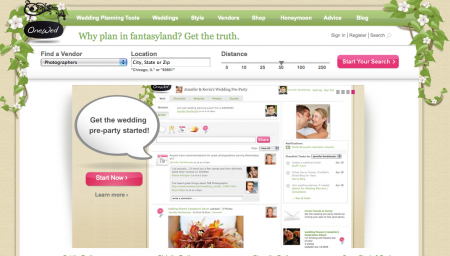 One Wed dot com wedding website home