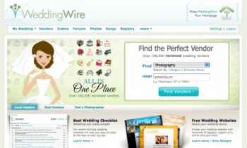 Wedding Wire dot com home page