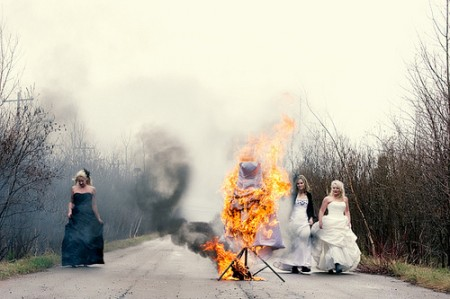Wedding gown in flames