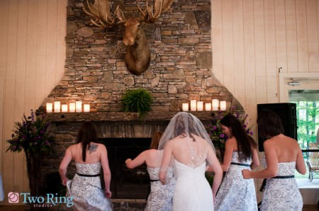 Bride with maids under moosehead
