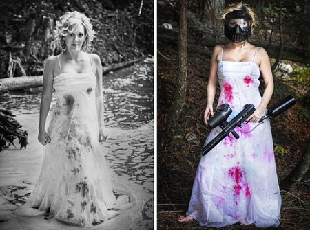 Trash the dress session with a paintball bride