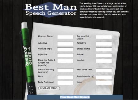 Best Man Speech Generator form