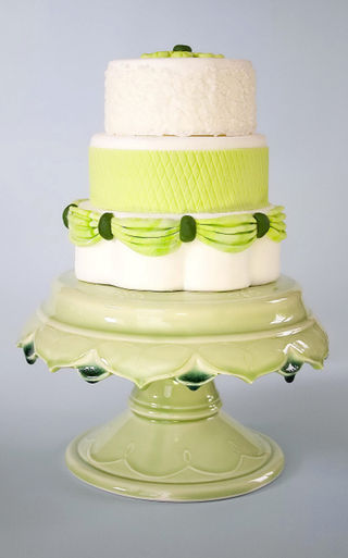 Yellow and pale green Clara French Cake stand