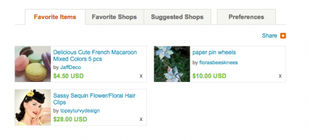 Example of Etsy favorites