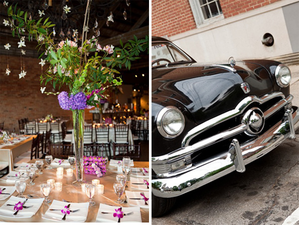 Purple and pink floral centerpiece and vintage car