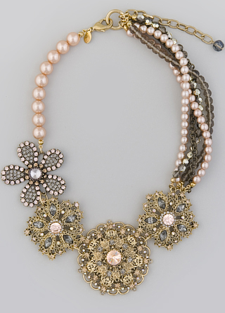 blush pearl and bronze flower necklace