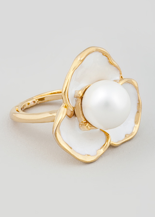 pearl and gold flower ring