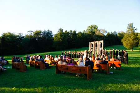 Custom outdoor church for wedding ceremony