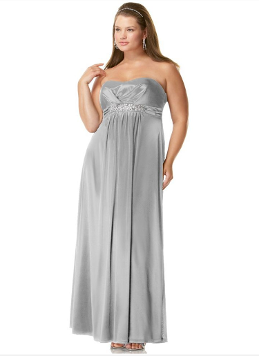 Silver plus size mother of bride dress