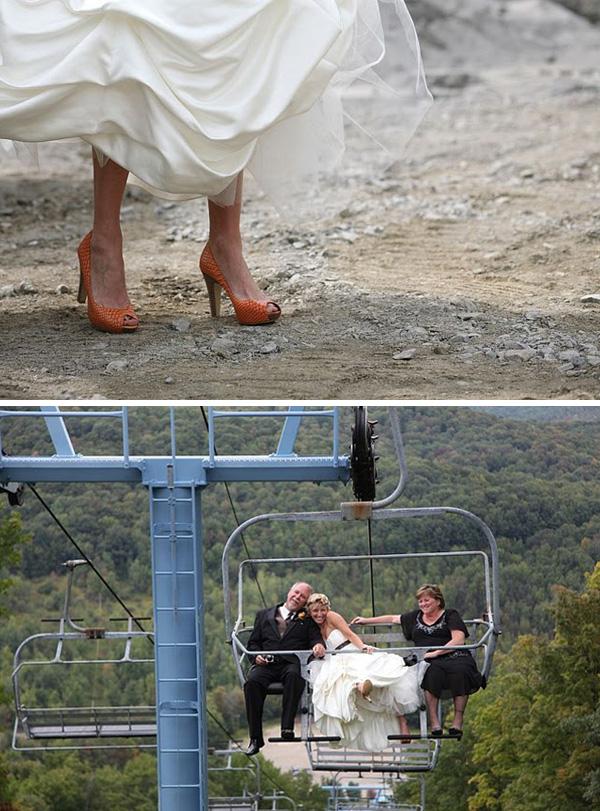 Orange bridal shoes + bride and groom