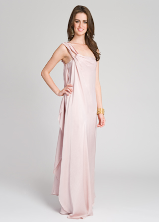 rose colored grecian gown