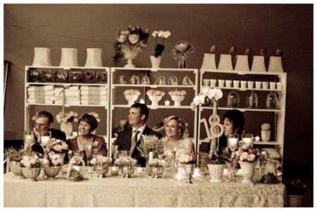 rustic vintage bride and grooms table