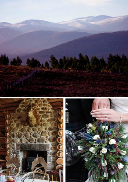 mountain views, stone fireplace and bridal bouquet