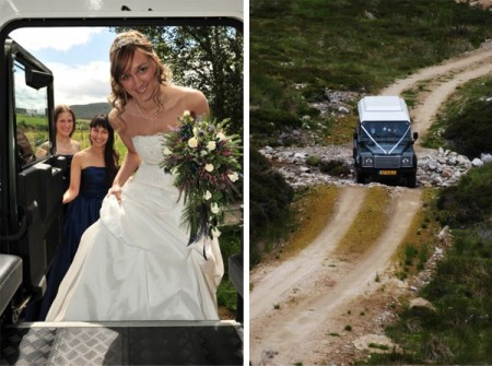 Bride rides a land rover to the ceremony site