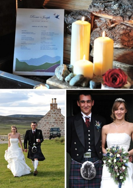 Bride and groom in remote Scottish Hunting Lodge
