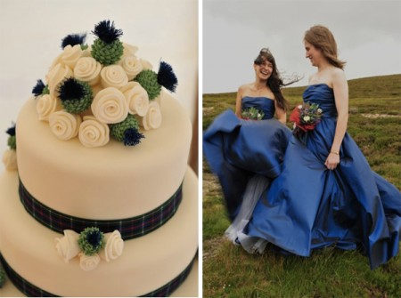 Bridesmaids in Blue and plaid wedding cake