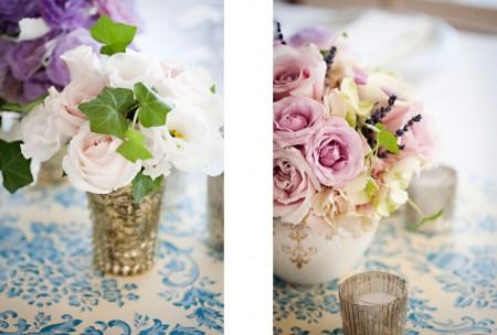 Vintage porcelain and silver vases
