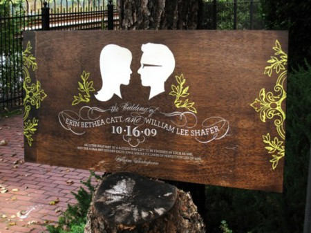 Wooden silhouette wedding signs