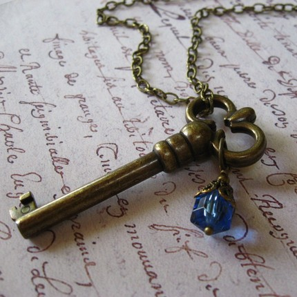 Skeleton key with blue bead
