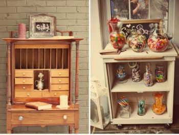 vintage cabinets as candy bars