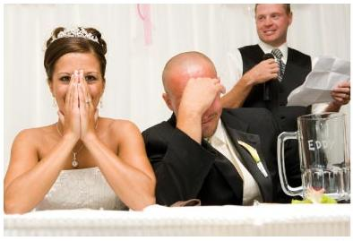Best man and embarrassed bride and groom