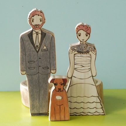 Custom cake topper with man woman and dog