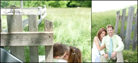 Bridal shots near a picket fence