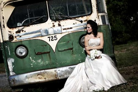 trash the dress session near an old VW bus