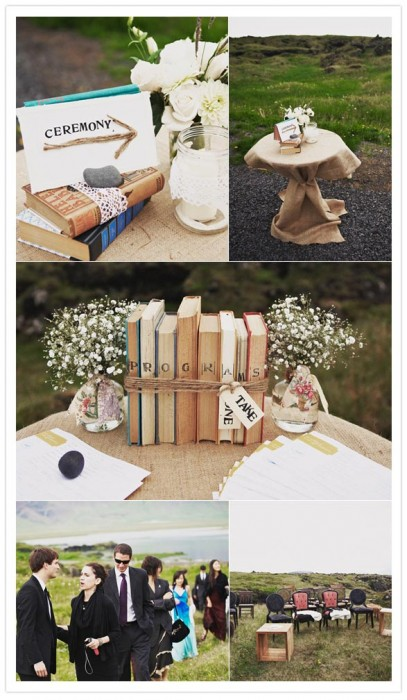 Books and text for wedding decor